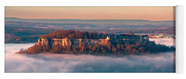 Fog Surrounding The Fortress Koenigstein Yoga Mat