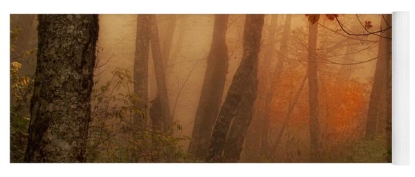 Yoga Mat featuring the photograph Foggy Autumn by Mary Jo Allen