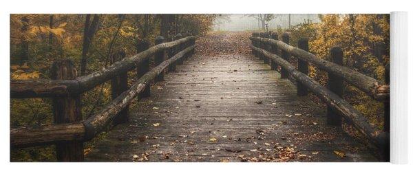 Foggy Lake Park Footbridge Yoga Mat