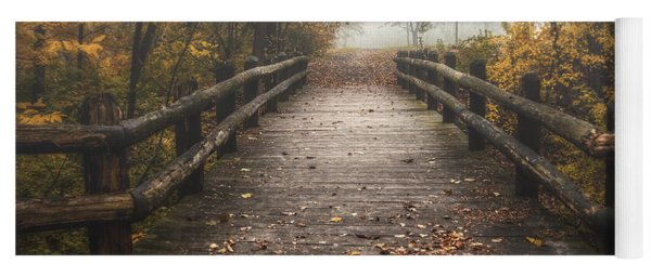 Foggy Lake Park Footbridge Yoga Mat