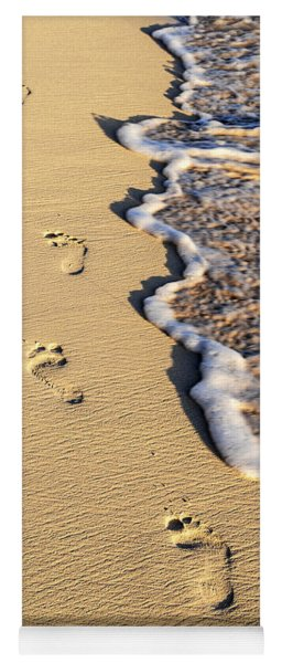 Footprints On Beach Yoga Mat