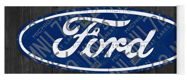 Ford Motor Company Retro Logo License Plate Art Yoga Mat