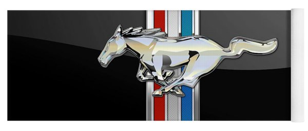 Ford Mustang - Tri Bar And Pony 3 D Badge On Black Yoga Mat