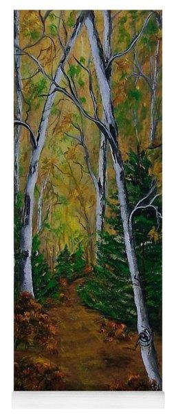 Birch Tree Forest Trail  Yoga Mat