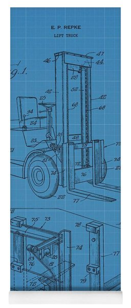 Forklift Blueprint Patent Yoga Mat