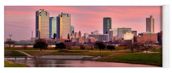 Fort Worth Skyline At Dusk Evening Color Evening Panorama Ft Worth Texas  Yoga Mat