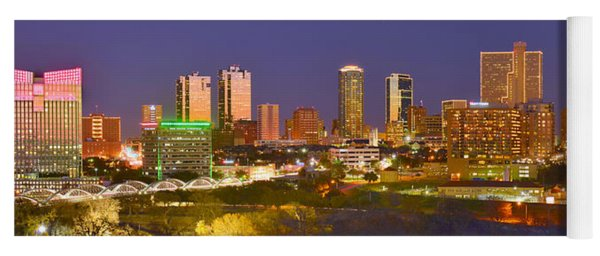Fort Worth Skyline At Night Color Evening Panorama Ft. Worth Texas Yoga Mat