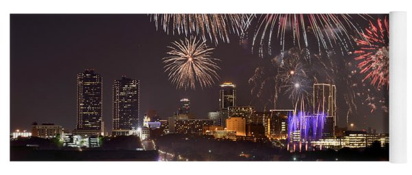 Fort Worth Skyline At Night Fireworks Color Evening Ft. Worth Texas Yoga Mat