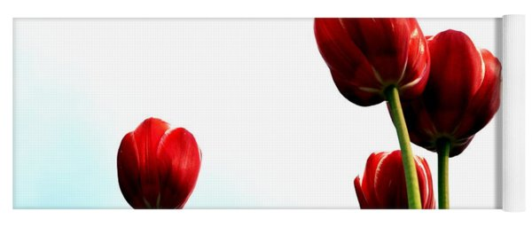 Four Red Tulips Yoga Mat