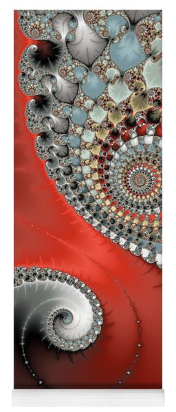 Fractal Spiral Art Red Grey And Light Blue Yoga Mat