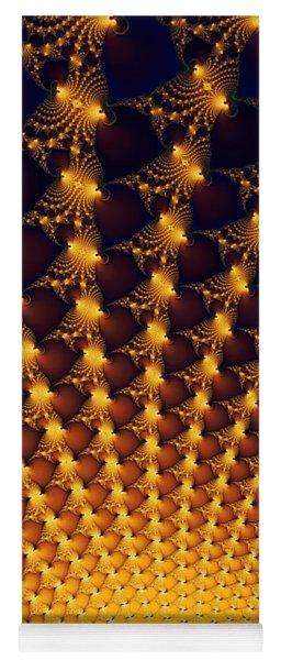 Fractal Yellow Golden And Black Firework Yoga Mat