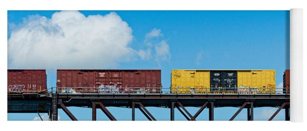 Freight Train Passing Over A Bridge Yoga Mat