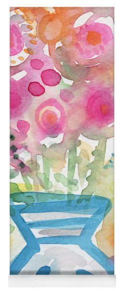 Fresh Picked Flowers In A Blue Vase- Contemporary Watercolor Painting Yoga Mat