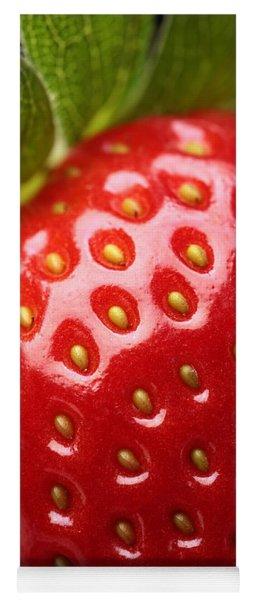 Fresh Strawberry Close-up Yoga Mat
