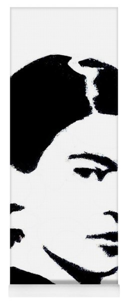 Yoga Mat featuring the mixed media Frida Black And White by Michelle Dallocchio