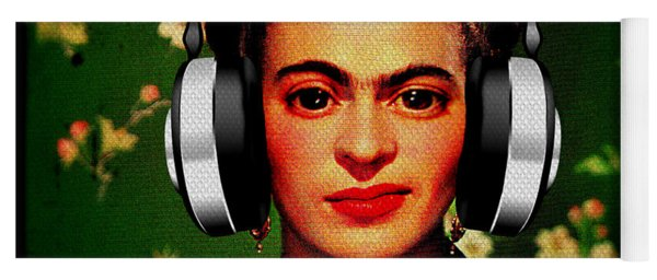Yoga Mat featuring the mixed media Frida Jams by Michelle Dallocchio