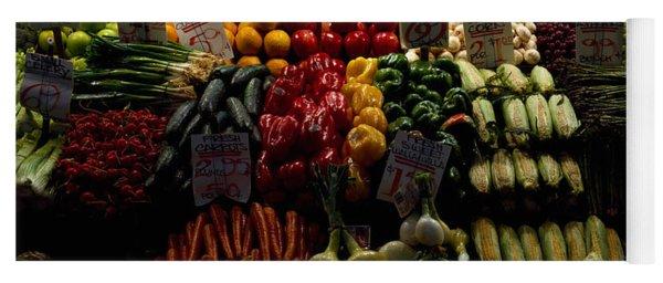 Fruits And Vegetables At A Market Yoga Mat
