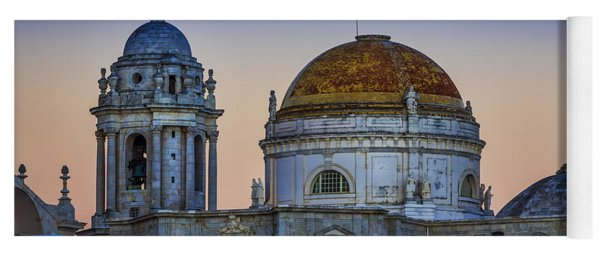 Full Moon Rising Over The Cathedral Cadiz Spain Yoga Mat