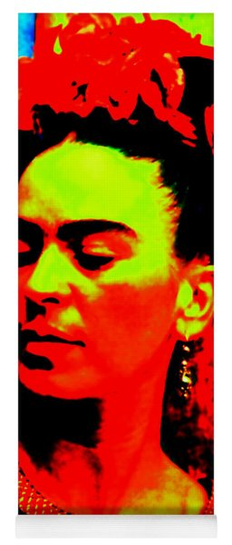 Yoga Mat featuring the mixed media Funky Frida by Michelle Dallocchio