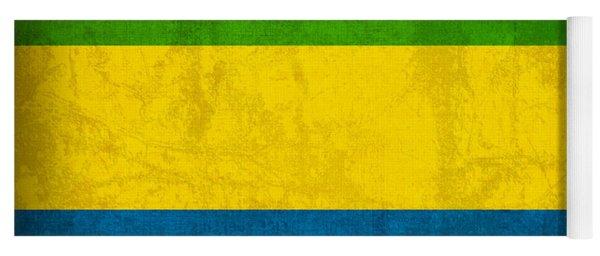 Gabon Flag Vintage Distressed Finish Yoga Mat