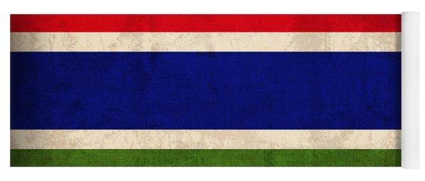Gambia Flag Vintage Distressed Finish Yoga Mat