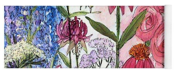 Garden Flower And Bees Yoga Mat