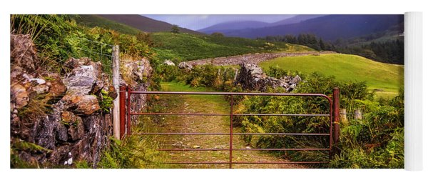 Gates On The Road. Wicklow Hills. Ireland Yoga Mat