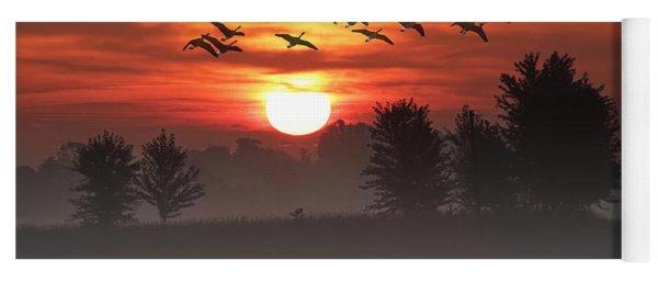 Geese On A Foggy Morning Sunrise Yoga Mat