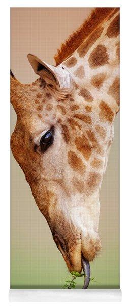Giraffe Eating Close-up Yoga Mat