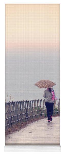 Girl Walking With Umbrella Yoga Mat