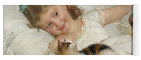 Girl With Kitten Yoga Mat