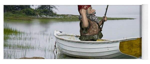 Gnome Fisherman In A White Maine Boat On A Foggy Morning Yoga Mat
