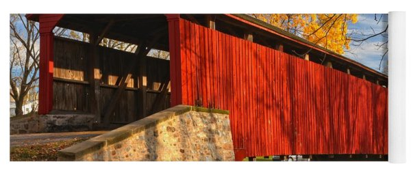 Gold Above The Poole Forge Covered Bridge Yoga Mat