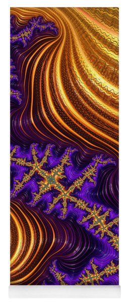 Golden And Purple Fractal River And Mountain Landscape Yoga Mat