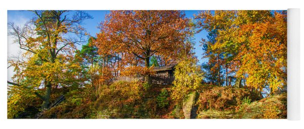 Golden Autumn On Neurathen Castle Yoga Mat