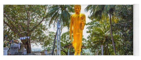Golden Buddha On A Temple Flower Yoga Mat