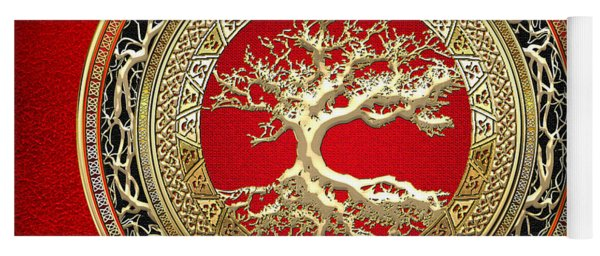 Golden Celtic Tree Of Life  Yoga Mat