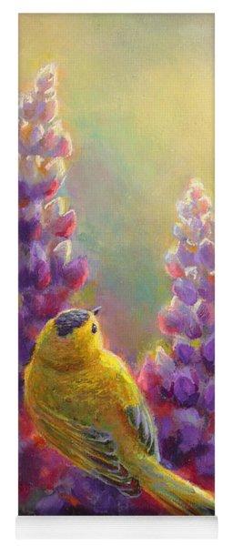 Golden Light 1 Wilsons Warbler And Lupine Yoga Mat