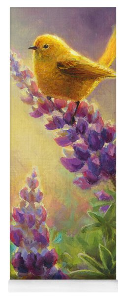 Golden Light 2 Wilsons Warbler And Lupine Yoga Mat