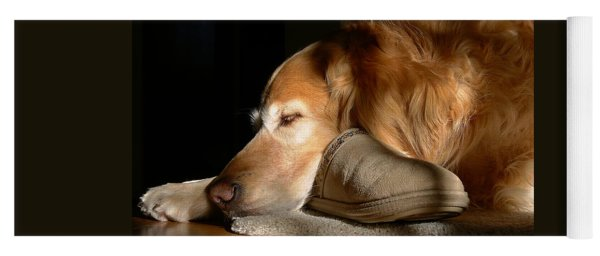 Golden Retriever Dog With Master's Slipper Yoga Mat