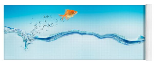 Goldfish Jumping Out Of Water Yoga Mat