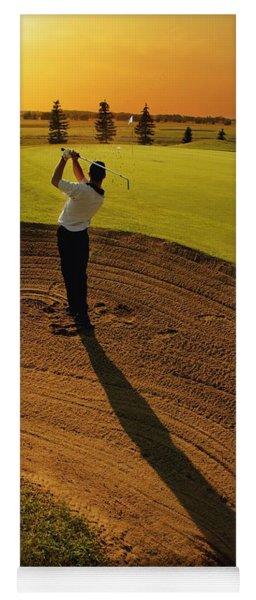 Golfer Taking A Swing From A Golf Bunker Yoga Mat