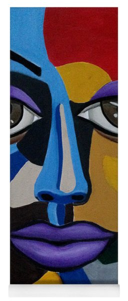 Colorful Illusion Abstract Face Art Painting, Big Brown Eye Art, Optical Artwork Yoga Mat