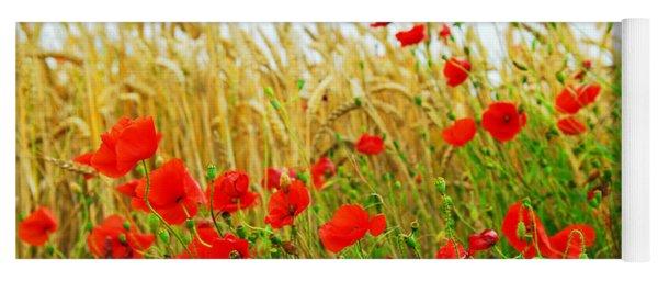 Grain And Poppy Field Yoga Mat