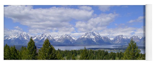 Grand Tetons Over Jackson Lake Panorama 2 Yoga Mat