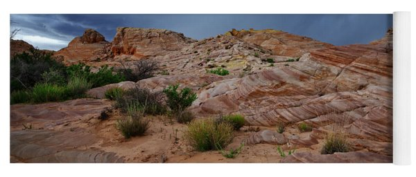 Gray And Red In The Valley Of Fire Yoga Mat