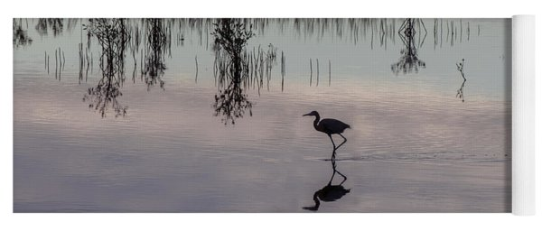Great Blue Heron At Sundown Yoga Mat