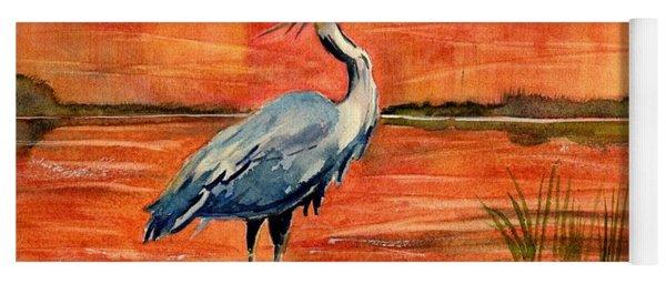 Great Blue Heron In Marsh Yoga Mat