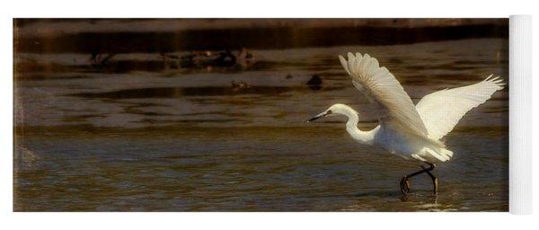 Great Egret Taking Off Yoga Mat