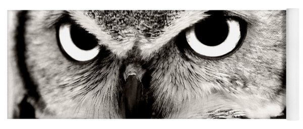 Great Horned Owl In Black And White Yoga Mat